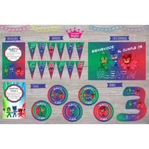 Kit Impreso Pj Mask Cumpleaños Deco Souvenirs Etiquetas