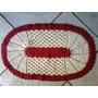 Tapete Crochê Artesanato Barbante Algodão Cru/ Vermelho Oval
