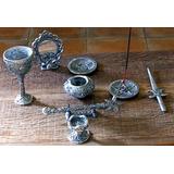 Altar Mágico Wiccano Completo : 10 Peças Em Estanho