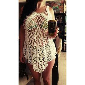Vestido Playero De Hilo De Algodón Tejido A Mano Al Crochet