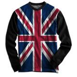 Blusa Casaco Moletom Swag Flanelado Reino Unido Bandeira