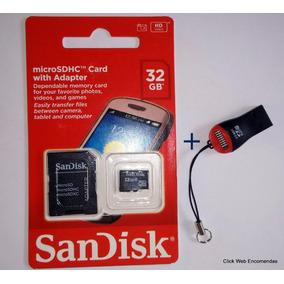 Cartão Memoria Micro Sd 32 Gb + Leitor De Cartão Sd