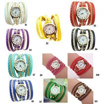 Relógio Feminino Dourado Strass De Pulso Bracelete Pulseira