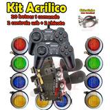 Kit Arcade 2 Comandos 20 Botoes 2 Controles Usb 2 Chicotes