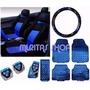 Polo Kit Azul Jogo Capa Banco Carro Volante Pedal Tapete