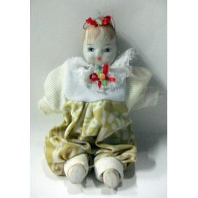 Linda Boneca Antiga De Louça - Corpo :tecido Algodão 17cm