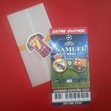 Barcelona Y Real Madrid (fútbol) - Tarjeta De Invitación