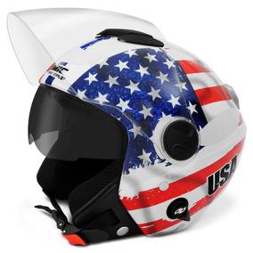 Capacete Moto Pro Tork Estados Unidos Usa Com Oculos Solar