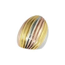 Anel De Aço Com Ouro Bombom Poliondas 3 Cores - 04056 18