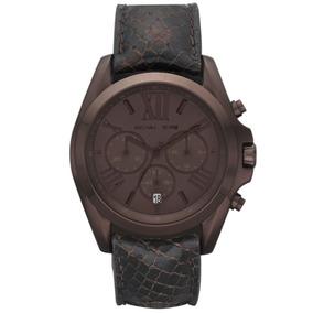 Relógio Luxo Mk5552 Bradshaw Orig Chron Anal Leather Brown