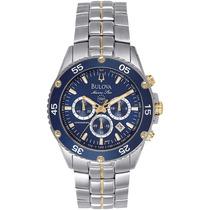 Relógio Luxo Bulova Marine Star 98h37 Orig Chron Anal Silver