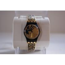 Relogio Feminino Swatch Ib168g Dourado E Preto