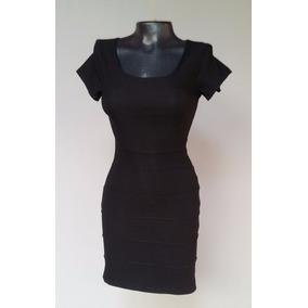 Vestido Mujer Licrado Elegante Negro Talla S