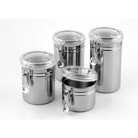 Kit 4 Potes Hermeticos Inox Para Mantimento Aço Inox 3254