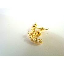 Brinco Meia Argola Pedras Zircônia Branca Joia De Ouro 18k