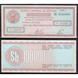 Bolivia P-188 Fe 100.000 Pesos Bolivianos 1984 Lote C/10 Col