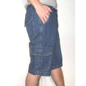 Bermuda Jeans Cargo Com Bolsos Laterais Traseiros Qualidade