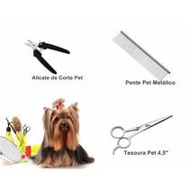 Kit Alicate + Tesoura + Pente Tosar Cães Cachorro Petshop