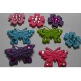 8 Figuras De Fieltro Con Accesorios Mariposas Y Flores