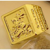 Anel São Jorge Oração Ouro Banho 18k Original Em Promoção