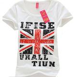 Blusa Camiseta Feminina Estampa Bandeira Reino Unido Uk