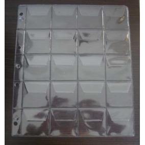 5 Folhas Para 20 Moedas Plástico Pvc 20 Com Aba (fm00a)