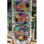 Tapete Crochê Em Rosas Bordadas 1,20m Diamentro Lindo Tapete