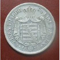 Moeda Alemanha-prata-1856- 1/6 Thaler- Saxonia-perfeita