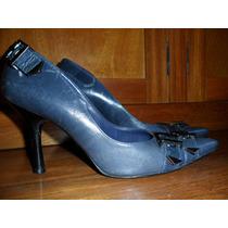Arezzo - Sapato Scarpin Azul Marinho Couro Tdo Forrado 36