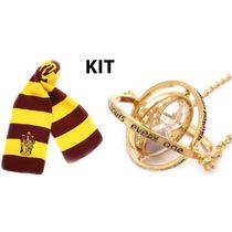 Cachecol Grifinória + Colar Vira Tempo Hermione Harry Potter