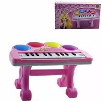 Piano Teclado Musical Infantil Com Luz Sons Eletrônico