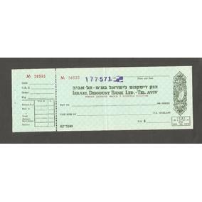 Israel Cheque Antigo - Em Arabe - Discount Bank - Tel Aviv