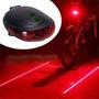 Lanterna Bike Traseira C/ Ciclovia Virtual 5 Led Laser Farol