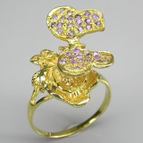 Flor, Borboleta,pavé Ametista E Ouro-anel De Prata 925