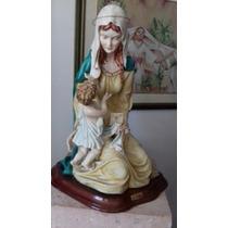 Capodimonte Virgen Porcelana Grande 56 Cm Alto X 44cm Base