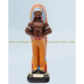 Escultura Caboclo Ubirajara Peito De Aço 20cm Altura