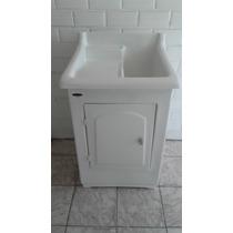 Tanque Lavar Roupas De Fibra 30 Litros Lateral C/ Gabinete