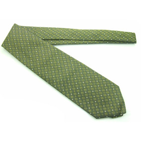 Gravata Italiana Seda Pura Verde Musgo Com Flores Fg! B0341