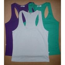 5 Camisetas Regata Em Malha Costas Nadador Blusinha Feminina