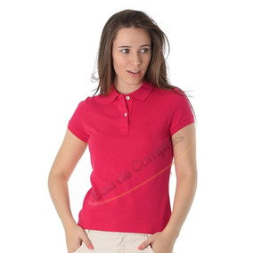 Camiseta Camisa Feminina Polo Baby Look Rosa Vários Tamanhos