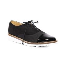 Trender Zapato Estilo Bostoniando Color Negro Y Suela Blanca