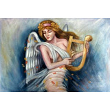 Pintura Oleo Sobre Tela Quadro Anjo Mulher Nua Tocando Harpa