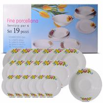 Conjunto Jantar Pratos Coloridos De Porcelana Fina C/ 19 Pçs