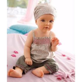 Conjunto Bebê Blusa Bermuda Tecido Algodão C/ Tiara Importad