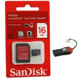 Cartão Memória Micro Sd Sandisk 16gb + Leitor + Frete Grátis