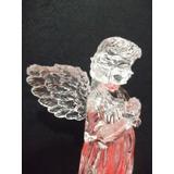 B. Antigo - Anjo Em Acrílico Em Pé Com As Asas Abertas
