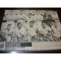 Poster Santos Penta Campeão Taça Brasil 1965 21x27 Cm Placar