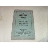 Austin A-40 Manual Do Proprietario Original 50/51