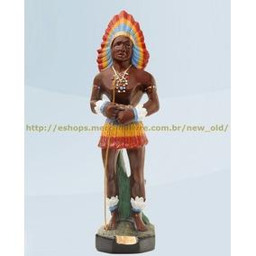 Escultura Caboclo Pajé 50cm Melhor Preço Do Ml Promoçao