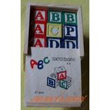 Promoção Caixa Bloco Alfabeto Cubo Letras Pedagógico Madeira
